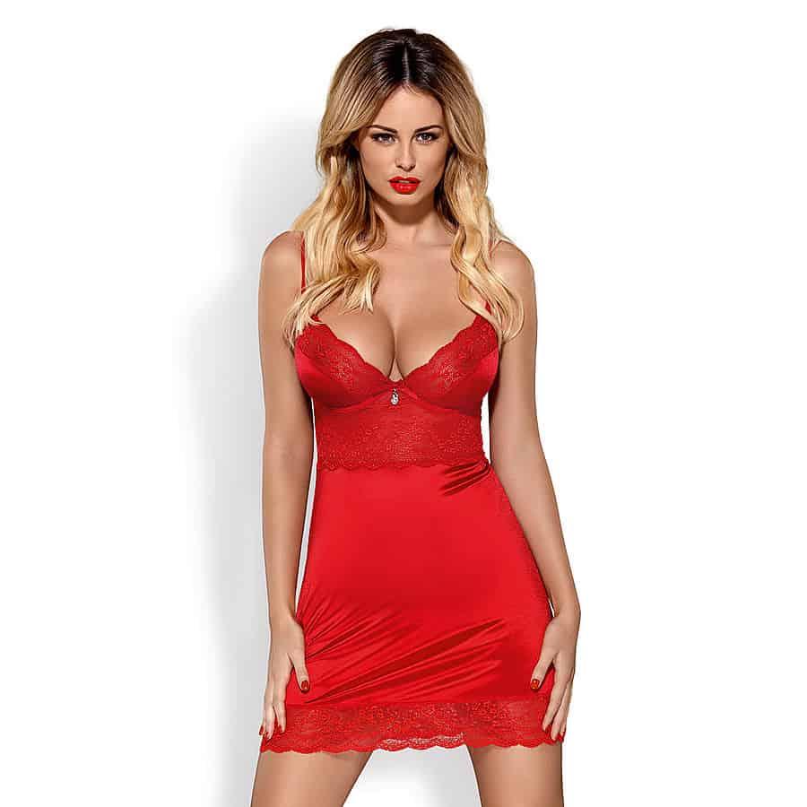 Punainen chemise-yöasu naisille